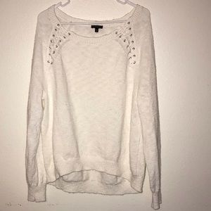 Express Off Shoulder White Corset Tie Sweater